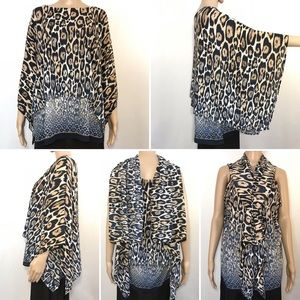 Chico's Travelers Kimono Sleeve Leopard Blouse